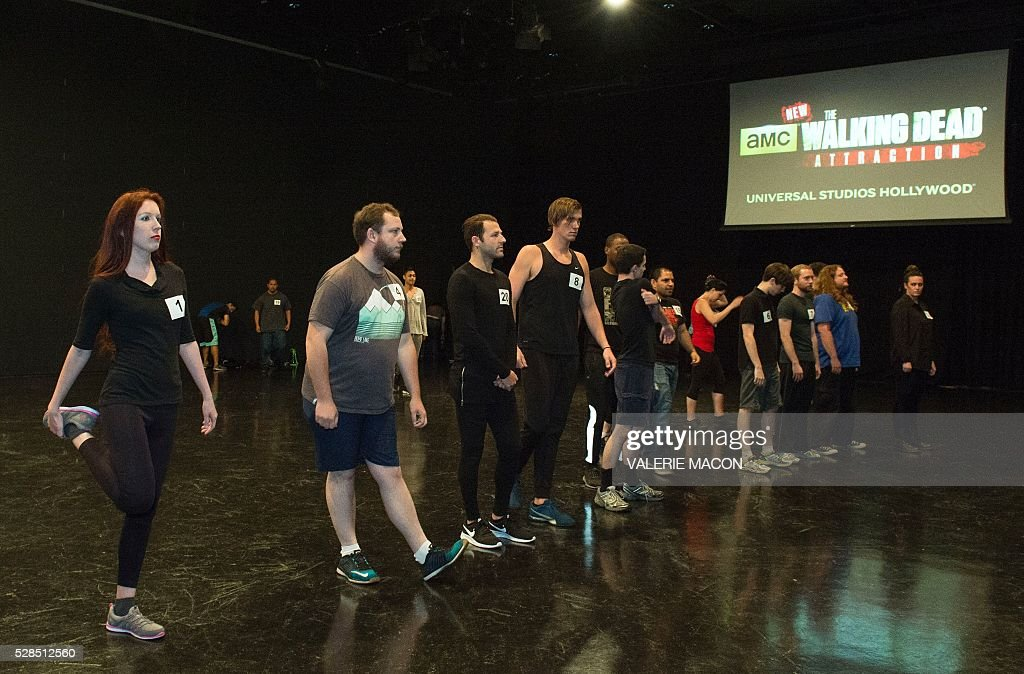Candidates wait to perform in front of the jury at The Walking Dead Casting Call Auditions for the future Walking Dead attraction at Universal Studios Hollywood, in Universal City, California, on May 5 2016. / AFP / VALERIE