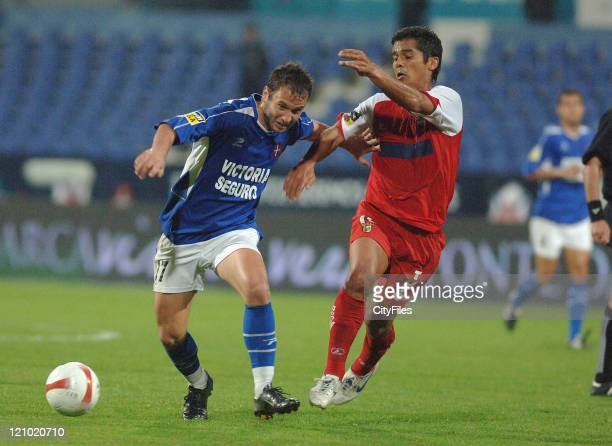 Candido Costa and Andrade during the Portuguese Cup SemiFinal match between Belenenses and Braga on April 19 2007