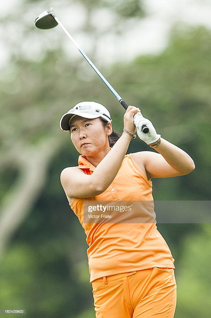 Candie Kung of Taiwan tees off on the 15th hole during day three of the Honda LPGA Thailand at Siam Country Club on February 23, 2013 in Chon Buri, Thailand.