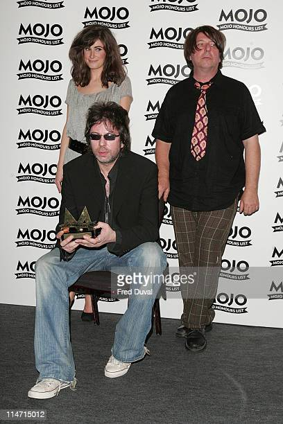Candie Payne with Ian McCulloch and Will Sergeant of Echo the Bunnymen winners of MOJO Maverick award