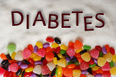 Colorful candies and chocolate chips with Diabetes text on a sugar background