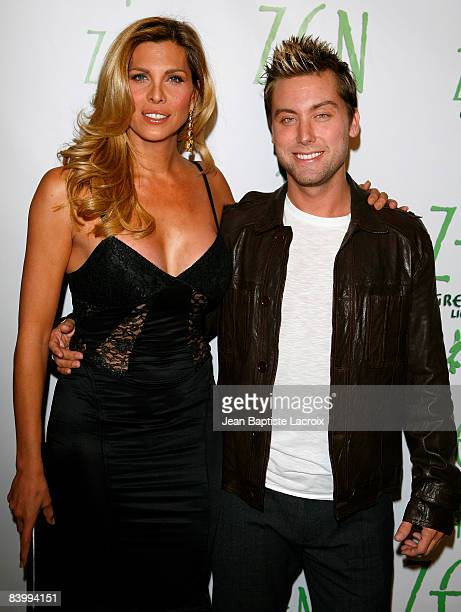 Candis Cayne and Lance Bass arrive at the DWTS Tour KickOff Party for Lance Bass at Yamashiro Restaurant on December 10 2008 in Los Angeles California