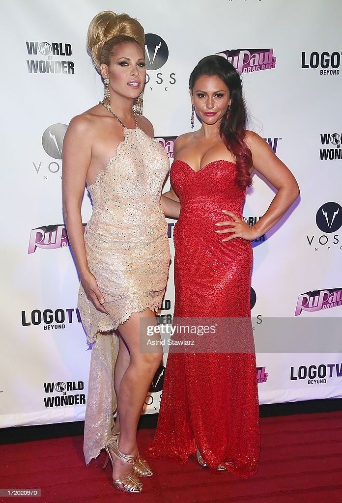 Candis Cayne and TV personality Jenni 'Jwoww' Farley attend Logo TV's Official Pride NYC 2013 Event at Highline Ballroom on June 30, 2013 in New York City.