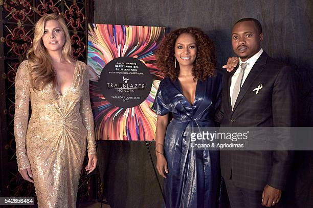 Candis Cayne Janet Mock and Tiq Milan pose for a portrait 2016 Logo's Trailblazer Honors at Cathedral of St John the Divine on June 23 2016 in New...