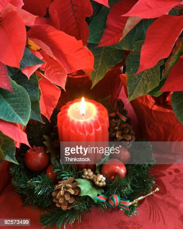 Candle and poinsettias