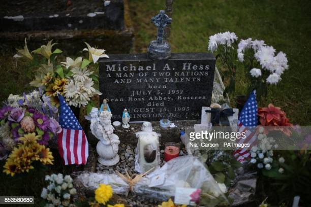 A candle depicting Philomena Lee's son Michael Hess born Anthony Lee at his grave in the grounds of Sean Ross Abbey in Roscrea Tipperary which was...