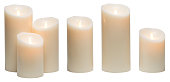 Candle Light, White Wax Candles Lights Isolated on White Background, obects with clipping path