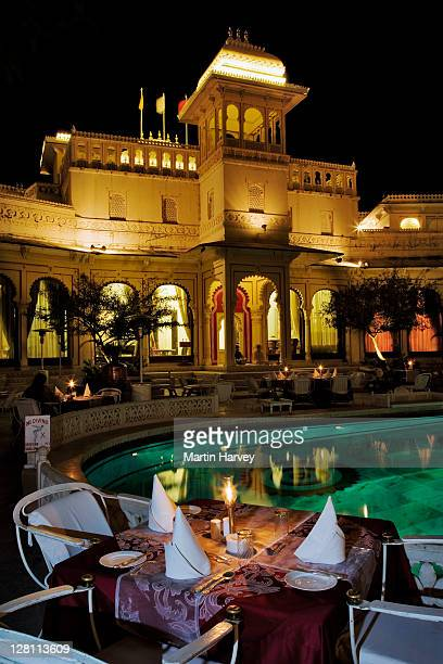 Candle lit dinner at the Shiv Niwas Palace Hotel. Part of the City Palace Complex in Udaipu, India. (PR: Property Released)