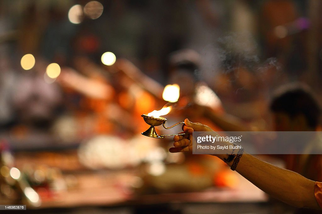 Candle of Aarti ceremony : Stock Photo