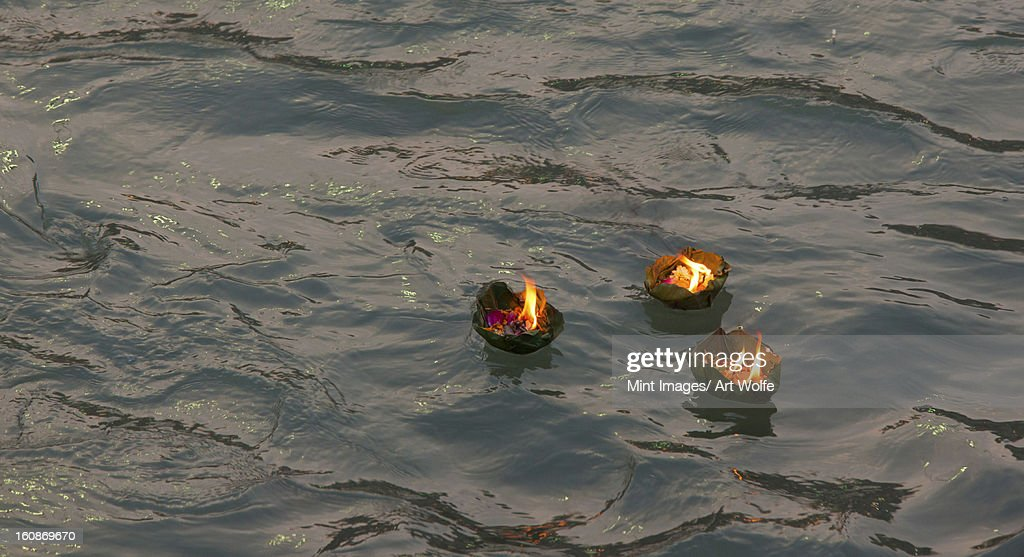 Candle offering at Kumbh Mela, Haridwar, India : Stock Photo
