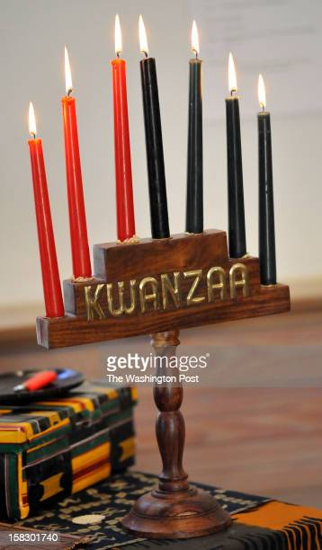 Candle representing the seven Kwanzaa principles on display during the annual celebration at the Benjamin Banneker Historical Park and Museum on...