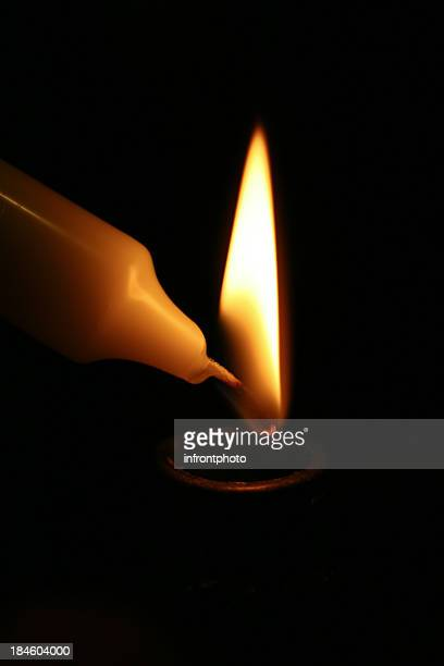 Candlelight, dark background.