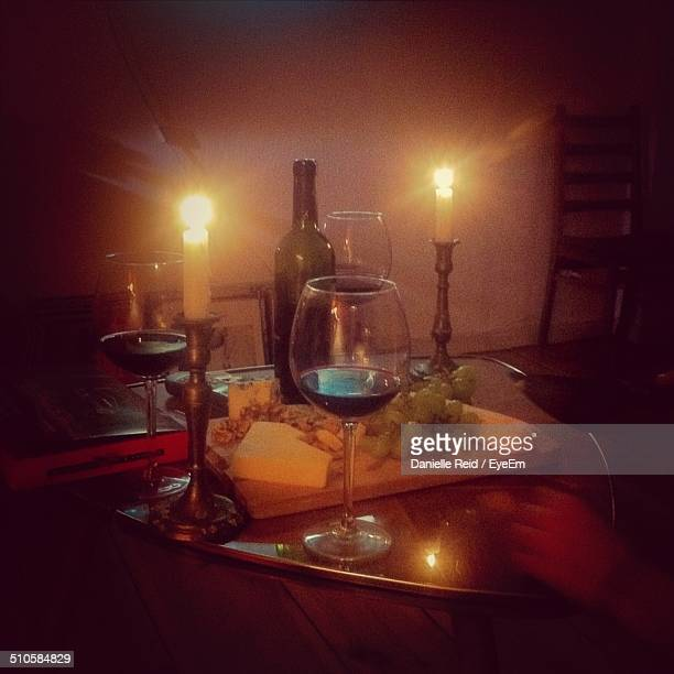 Candlelight dinner with wine