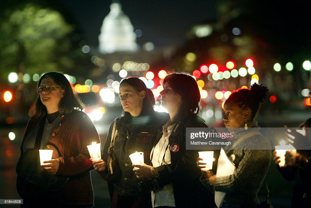 Candlelight Vigil Held On Eve Of Election : Stock Photo