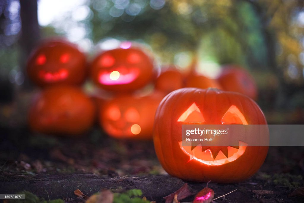 Candlelit Halloween Pumpkins outside in Woods