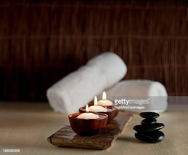 Bougies et Massage aux pierres de Spa Zen-XXXL arrière-plan