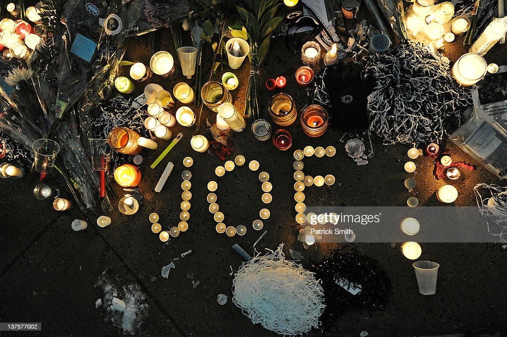 Candles and other memorabilia decorate the base of the statue of Joe Paterno, the former Penn State football coach who died earlier in the morning, outside Beaver Stadium on the campus of Penn State on January 22, 2012 in State College, Pennsylvania.