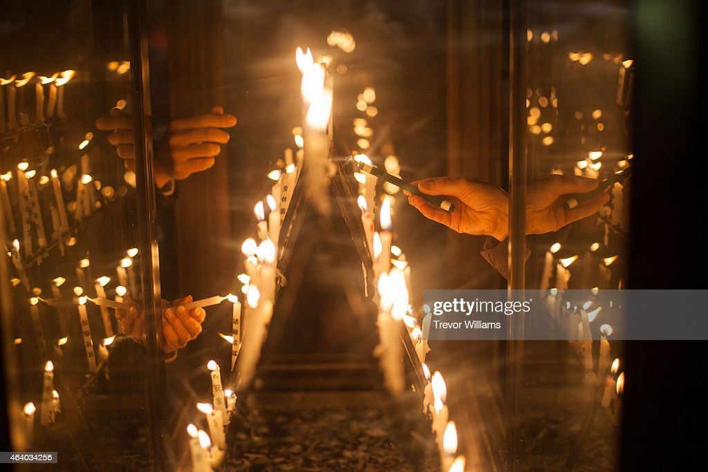 Candles are lit as part of the prayer ritual before the Hadaka Matsuri or Naked Festival at Saidaiji Temple on February 21 2015 in Okayama Japan Some...