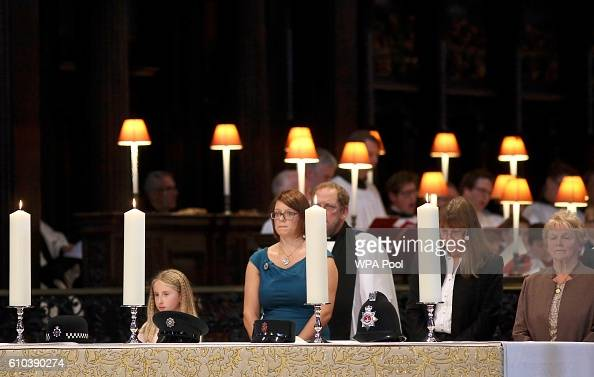 Candles are lit during the National Police Memorial Service at St Paul's Cathedral on September 25 2016 in London England