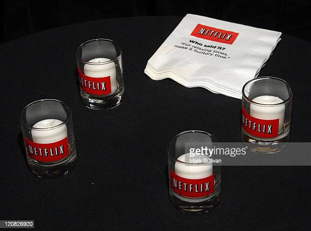 Candles are on display with the Netflix logo at the Netflix FIND Your Voice Competition press conference on January 8 2009 in Westwood California