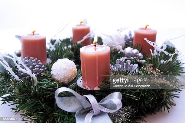 Candles in Advent wreath, close-up