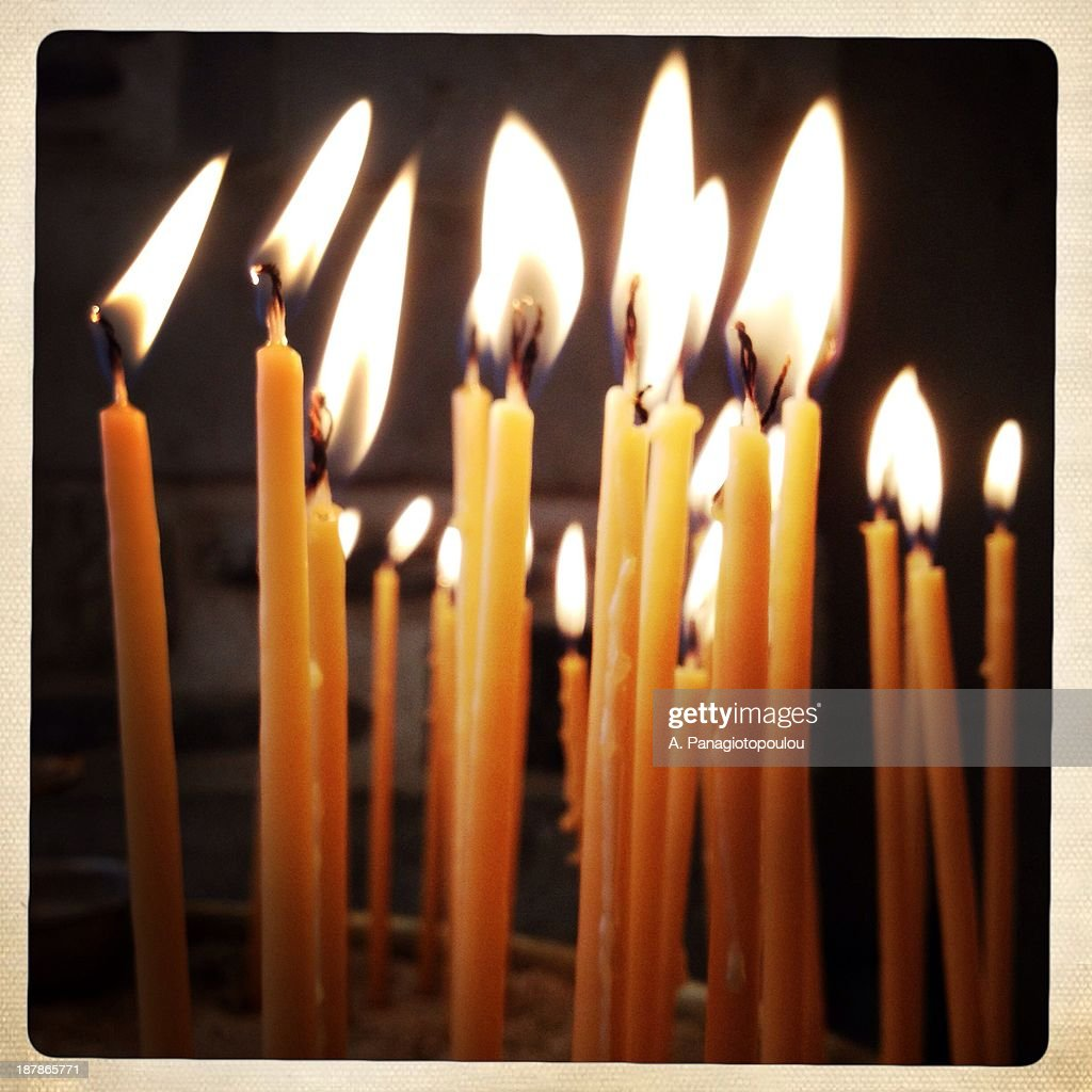 Candles in church : Stock Photo