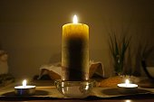 Candles on altar, selective focus on the candle, night candlelight time