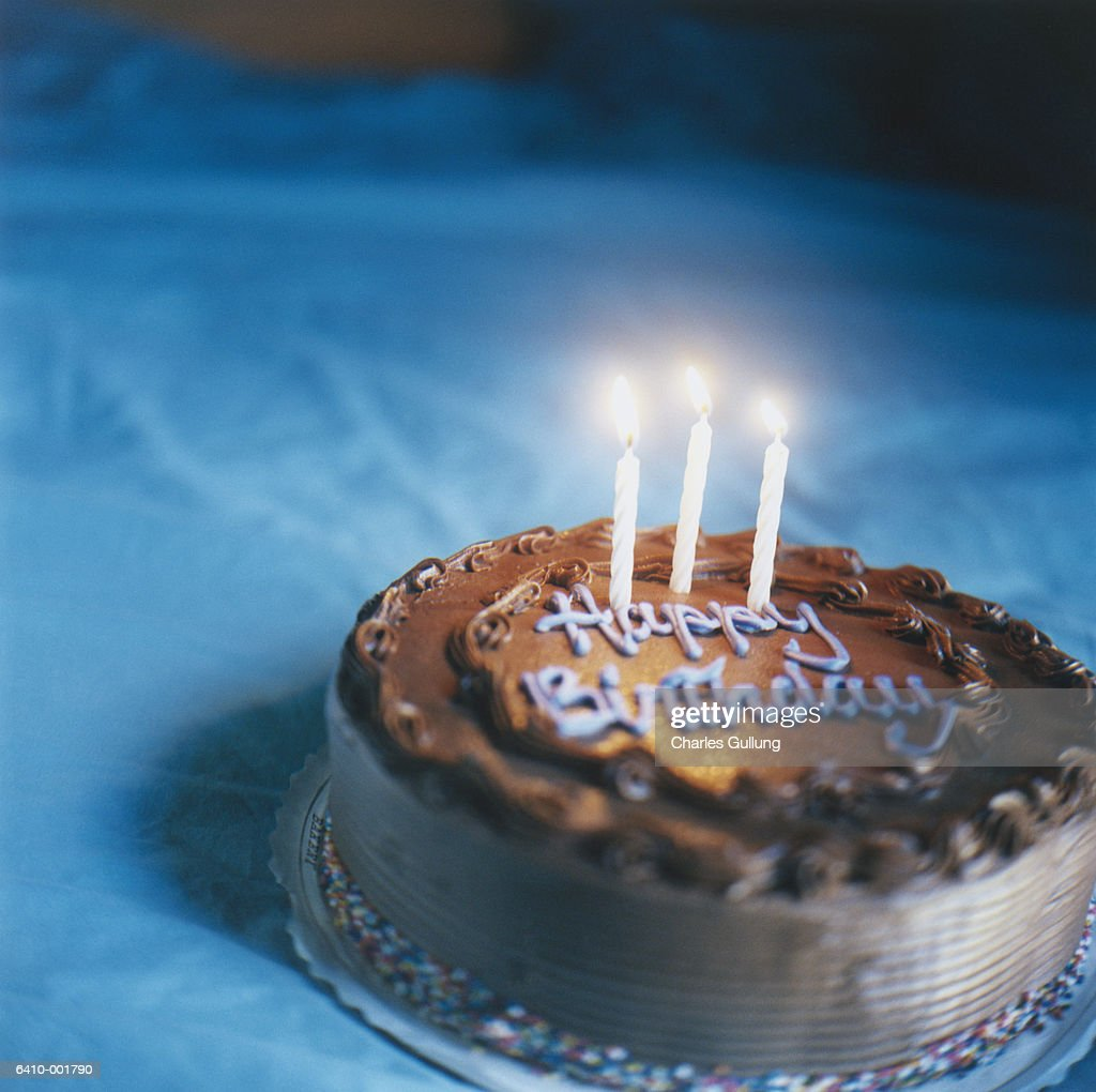 Candles on Birthday Cake : Stock Photo