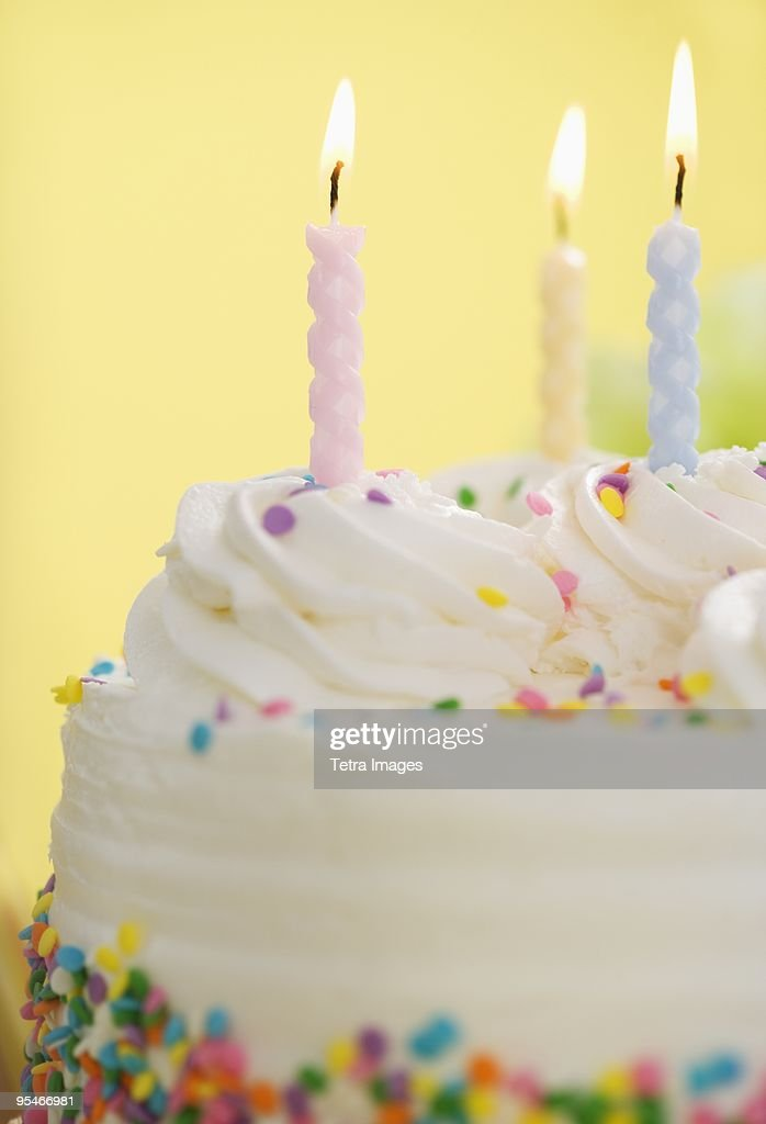 Candles on cake : Stock Photo