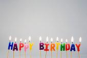 Candles spelling ?Happy Birthday?