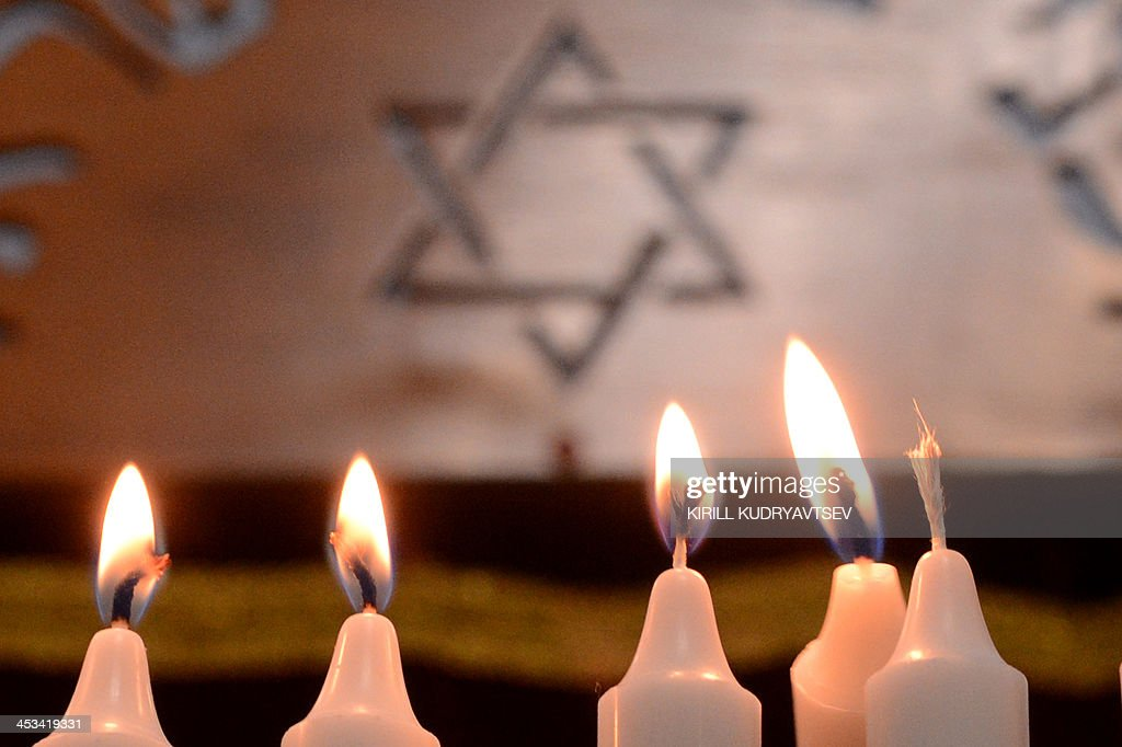 Candles stands in the notorious Butyrka remand prison in Moscow on December 4 during the festival of Hanukkah celebration AFP PHOTO / KIRILL...