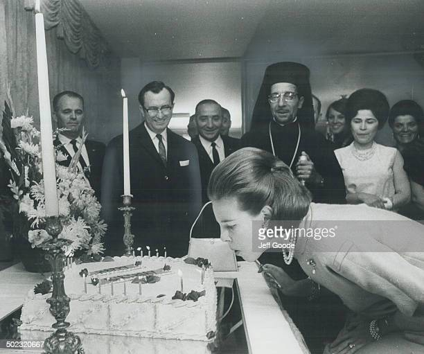 21 candles were blow out by Queen AnneMarie of Greece at a birthday party given in her honor by members of the Greek community last night Her consort...