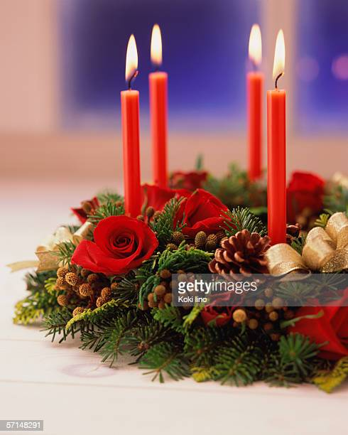 Candles with wreath, close-up