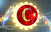 Candlestick pattern. Trading chart concept. Financial market chart. Gear with flag of the Turkey. 3D rendering