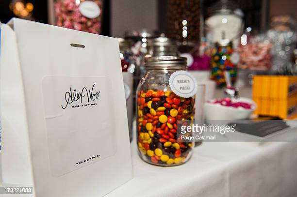 A candy bar is prepared for guests during the Alex Woo launch party at the MLB Fan Cave Thursday June 13 at Broadway and 4th Street in New York City
