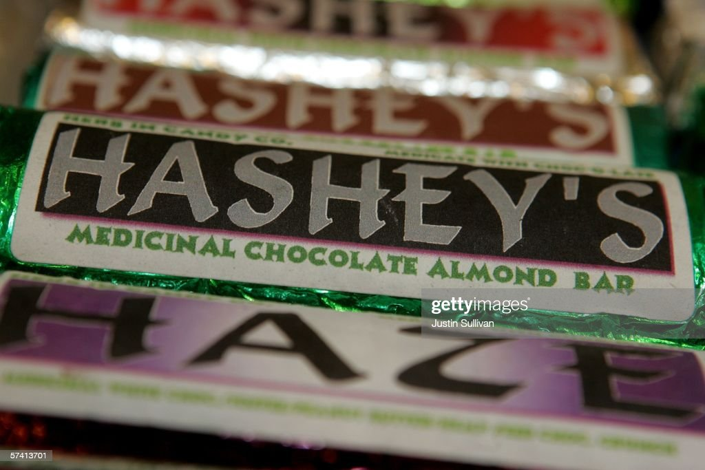 Candy bars laced with medical marijuana are seen on display at the Alternative Herbal Health Services cannabis dispensary April 24 2006 in San...