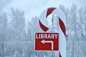 Candy Cane library sign in winter