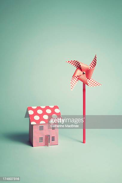 candy colour home and wind turbine