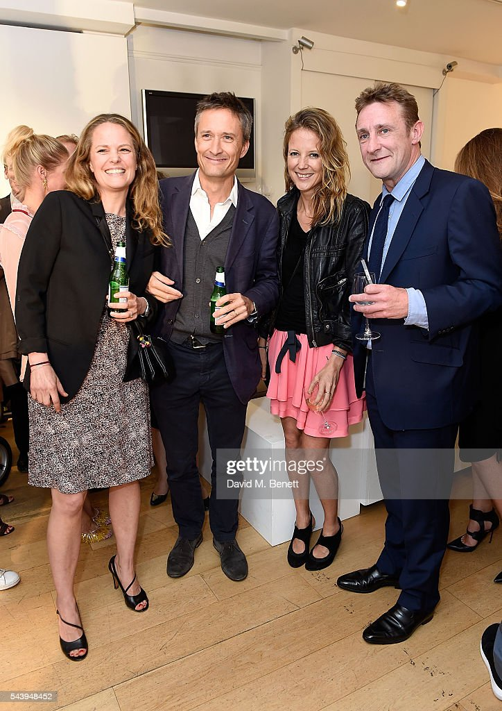 Candy Plews, Olly Lane Fox, Tilly Wood and Jolyon Fenwick attend the exhibition launch party of 'The Zero Hour Panoramas' by Jolyon Fenwick. The exhibition consists of 14 photographic panoramas showcasing, '100 Years on: Views From The Parapet of the Somme', at Sladmore Contemporary on June 30, 2016 in London, England.