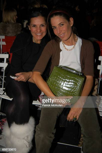 Candy Pratts Price and Elizabeth Saltzman attend the front row at Diane von Furstenberg Fashion Show at DVF Studios on February 8 2004 in New York...