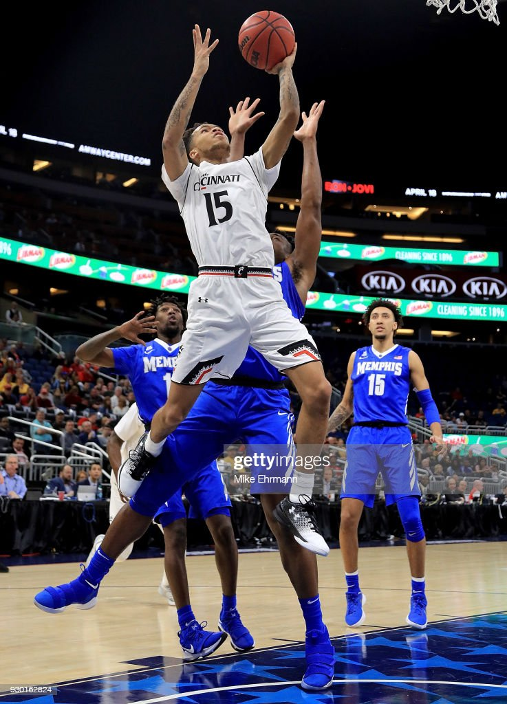 Cane Broome #15 of the Cincinnati Bearcats drives to the basket during a semifinal game of the 2018 AAC Basketball Championship against the Memphis Tigers at Amway Center on March 10, 2018 in Orlando, Florida.