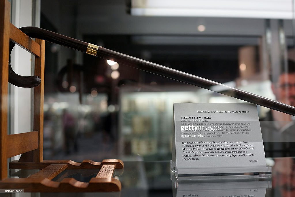A cane that once belonged to the writer F. Scott Fitzgerald is displayed for sale at the Park Avenue Armory which is hosting the New York Antiquarian Book Fair on April 12, 2013 in New York City. This years fair, the 53rd year, features over 200 exhibitors of rare books, maps, manuscripts and ephemera.The New York Antiquarian Book Fair runs from April 11 through 14.