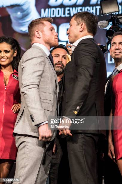 Canelo Alvarez and Gennady Golovkin face off during the Canelo Alvarez vs Gennady Golovkin press conference at Madsion Square Garden June 20 2017 in...