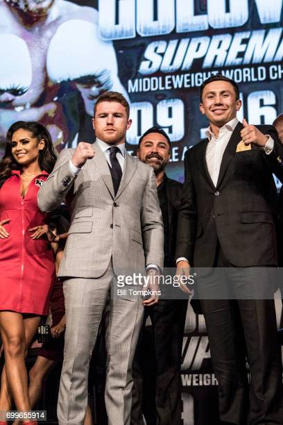 Canelo Alvarez and Gennady Golovkin pose during the Canelo Alvarez vs Gennady Golovkin press conference at Madsion Square Garden June 20 2017 in New...