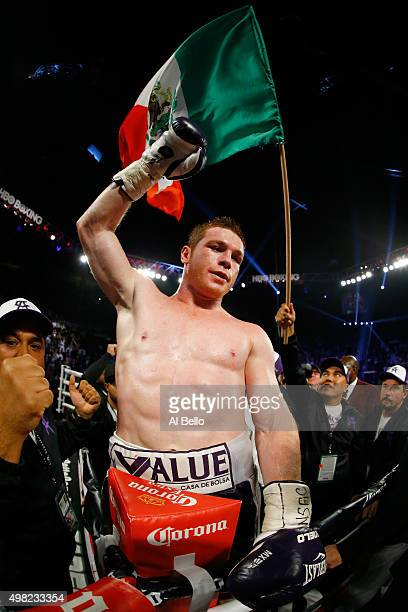 Canelo Alvarez celebrates after defeating Miguel Cotto by unanimous decision in their middleweight fight at the Mandalay Bay Events Center on...