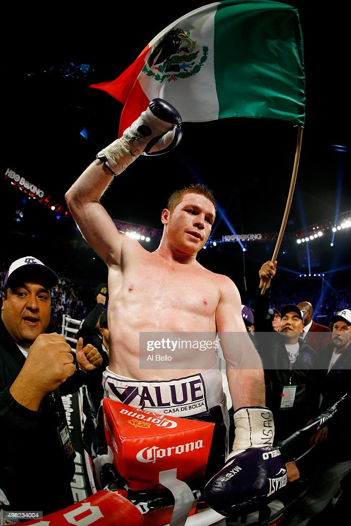 Canelo Alvarez celebrates after defeating Miguel Cotto by unanimous decision in their middleweight fight at the Mandalay Bay Events Center on November 21, 2015 in Las Vegas, Nevada.