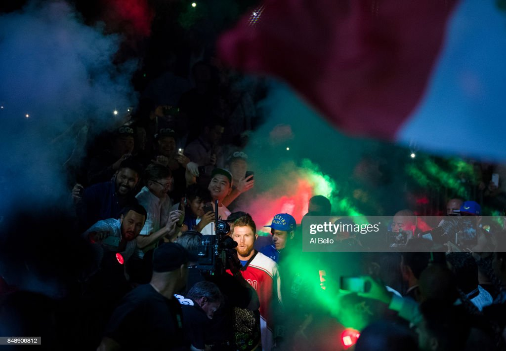 Canelo Alvarez enters the ring against Gennady Golovkin before their WBC, WBA and IBF middleweight championship bout at T-Mobile Arena on September 16, 2017 in Las Vegas, Nevada.