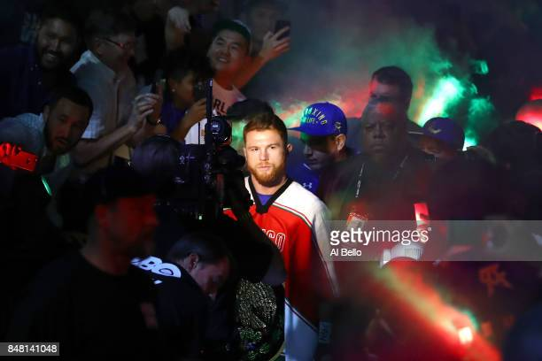 Canelo Alvarez enters the ring to take on Gennady Golovkin before their WBC WBA and IBF middleweight championship bout at TMobile Arena on September...