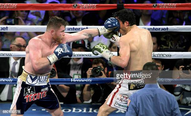 Canelo Alvarez extends a left jab against Julio Cesar Chavez Jr on May 6 2017 at the TMobile Arena in Las Vegas Nevada Saul 'Canelo' Alvarez cruised...