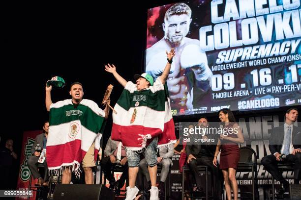 Canelo Alvarez fans chant on stage during the Canelo Alvarez vs Gennady Golovkin press conference at Madsion Square Garden June 20 2017 in New York...